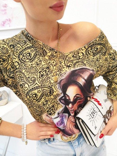 Sweter bluzka oversize z nadrukiem - LETA - cytrynowa
