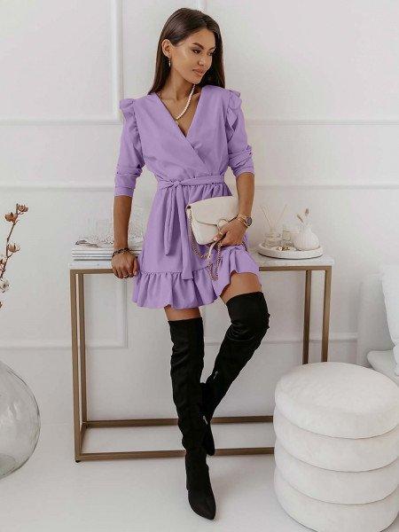 Rozkloszowana sukienka z falbankami MOLLY - liliowa