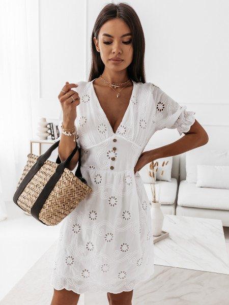 Ażurowa sukienka boho z guzikami - FLOWER - biała