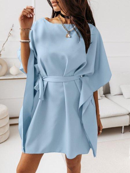Narzutka sukienka tunika nietoperz - BEACH - błękitna
