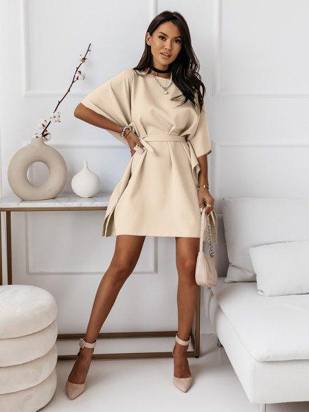 Narzutka sukienka tunika nietoperz - BEACH - jasny beż