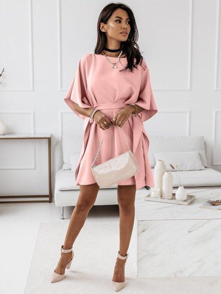 Narzutka sukienka tunika nietoperz - BEACH - pudrowy róż