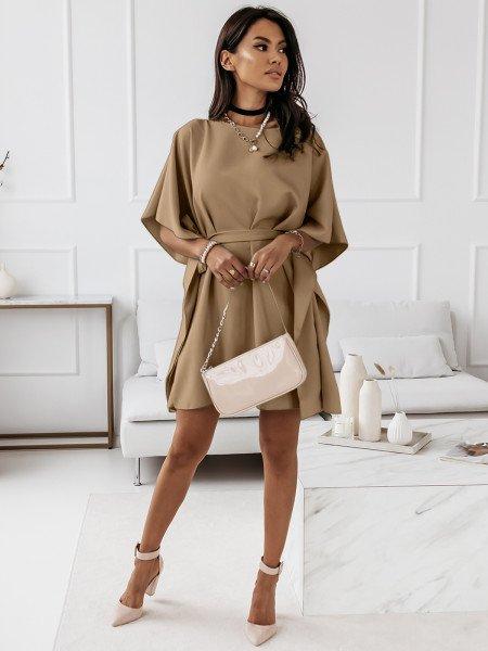 Narzutka sukienka tunika nietoperz - BEACH - ciemny beż