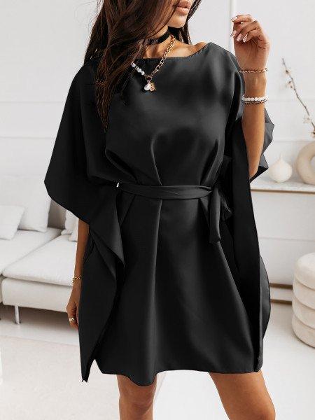 Narzutka sukienka tunika nietoperz - BEACH - czarna