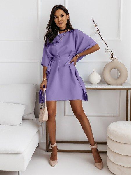 Narzutka sukienka tunika nietoperz - BEACH - liliowa