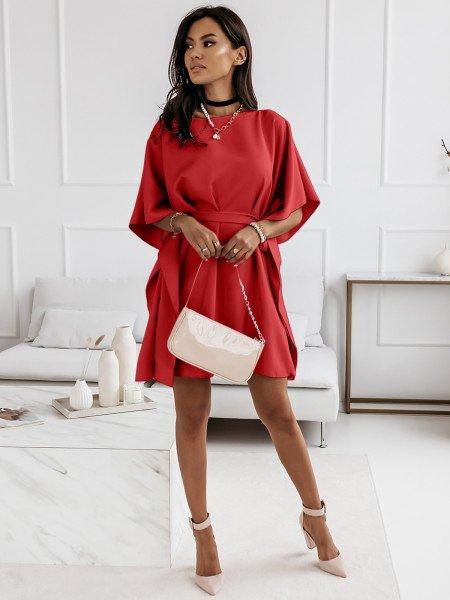 Narzutka sukienka tunika nietoperz - BEACH - czerwona