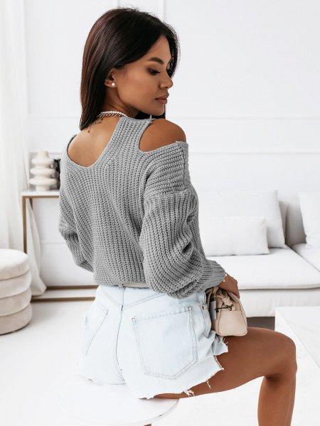 Sweter z wycięciami na ramionach - CUT - szary
