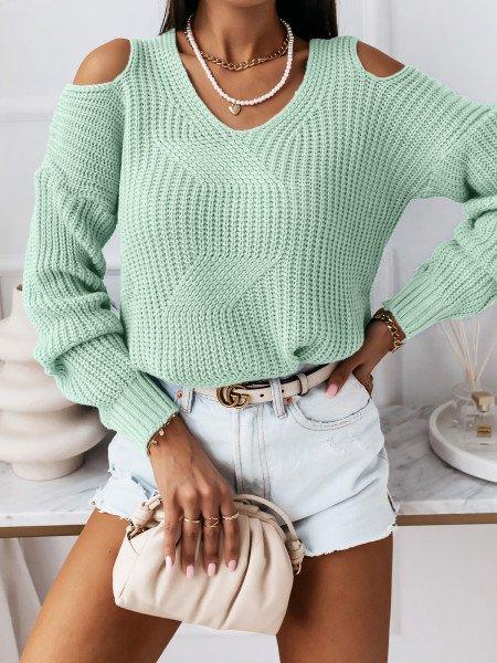 Sweter z wycięciami na ramionach - CUT - miętowy