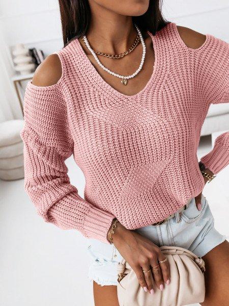 Sweter z wycięciami na ramionach - CUT - pudrowy róż