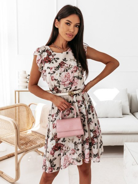 Sukienka w kwiatowy print - NAOMI - beżowa