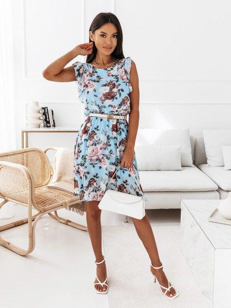 Sukienka w kwiatowy print - NAOMI - błękitna