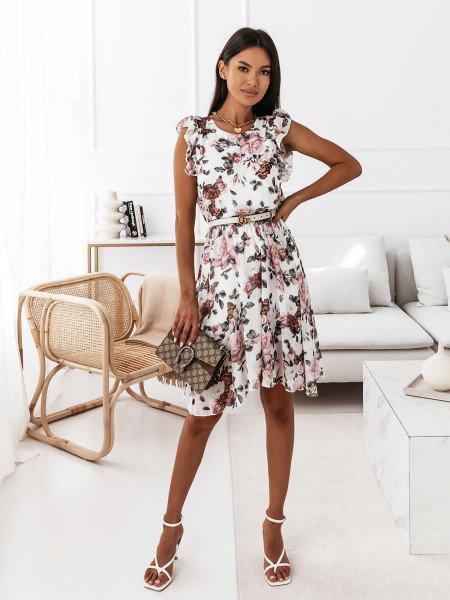Sukienka w kwiatowy print - NAOMI - biała
