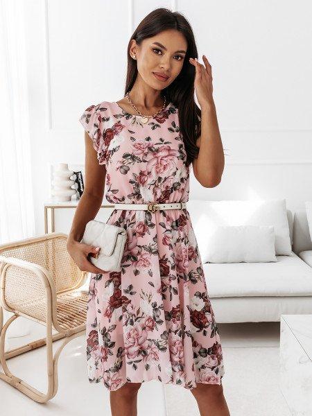 Sukienka w kwiatowy print - NAOMI - pudrowy róż