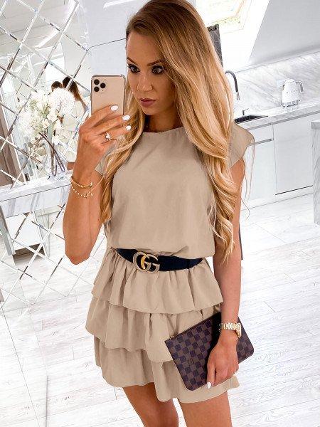 Mini sukienka z falbankami CLEO - jasny beż
