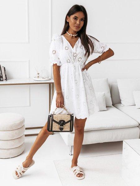 Ażurowa sukienka boho wiązana w pasie - RIHANNA - biała
