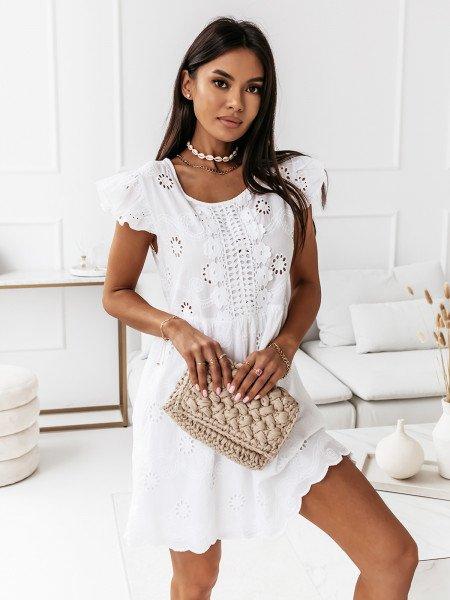 Ażurowa sukienka boho - SAMMY - biała