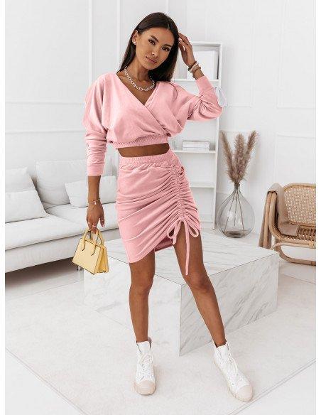 Welurowy komplet dresowy bluza+spódnica BELLA - pudrowy róż