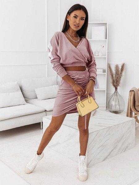 Welurowy komplet dresowy bluza+spódnica BELLA - brudny róż