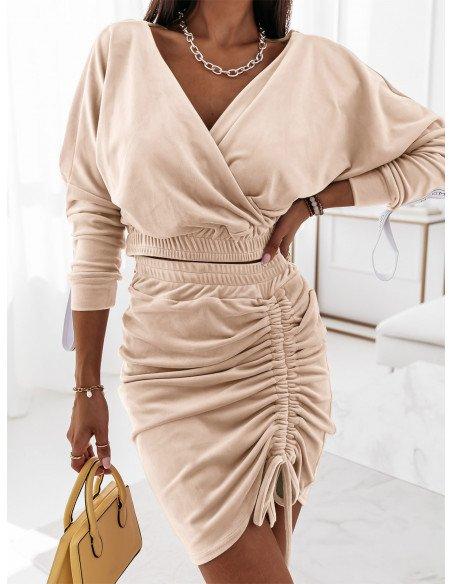 Welurowy komplet dresowy bluza+spódnica BELLA - jasny beż