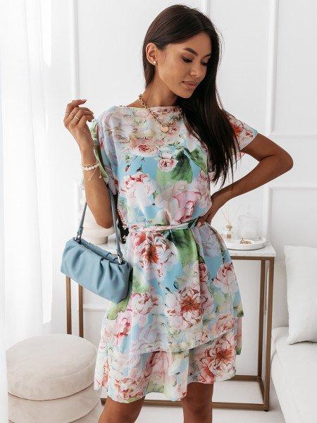 Sukienka w kwiatowy print - RUMBA - błękitny