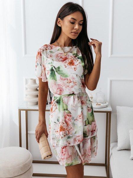 Sukienka w kwiatowy print - RUMBA - biała