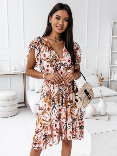 Sukienka w kwiatowy print - PALM - biała