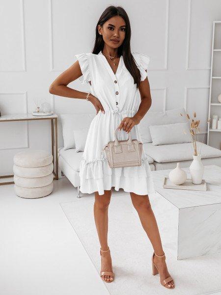 Sukienka szmizjerka z dekoltem na guziki - FRIVOLUS - biała