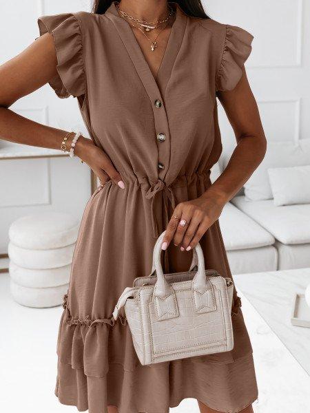 Sukienka szmizjerka z dekoltem na guziki - FRIVOLUS - ciemny beż