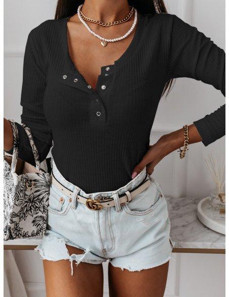 Prążkowana bluzka z dekoltem BLANCHE - czarna
