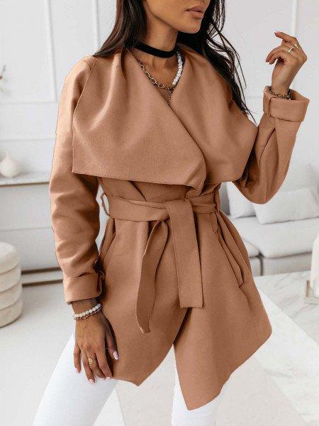 Flauszowy płaszcz wiązany - SPRING - karmelowy