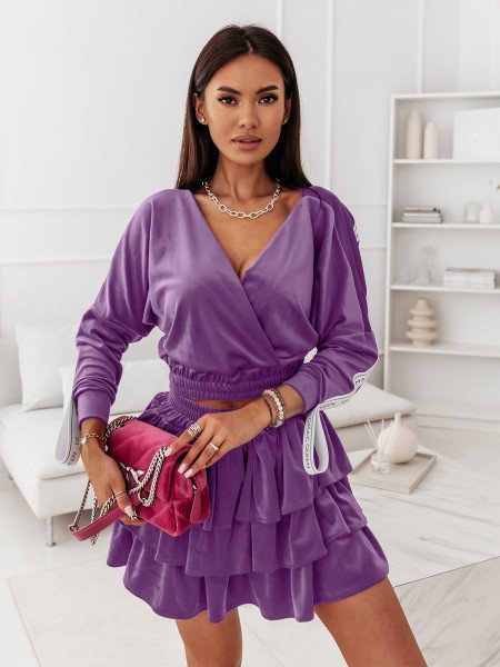 Komplet welurowy bluzka + spódnica NARINE - liliowy