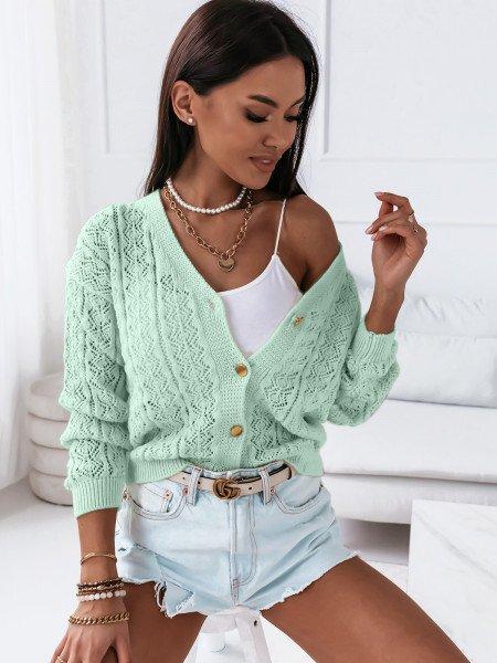 Sweter zapinany na guziki OKTAVIA - miętowy