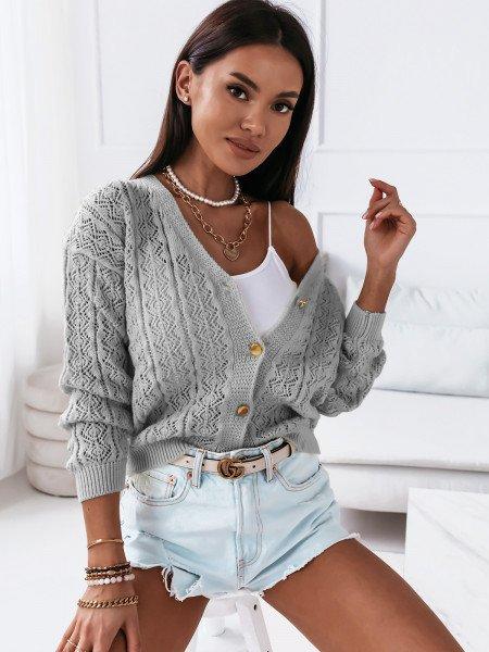 Sweter zapinany na guziki OKTAVIA - szary