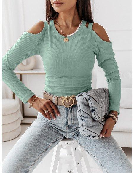 Prążkowana bluzka z wycięciami SUGARY - miętowa
