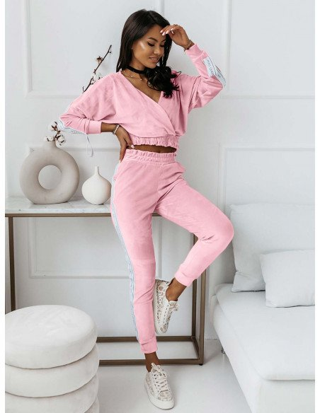Welurowy dres spodnie + bluza VELVET - pudrowy róż