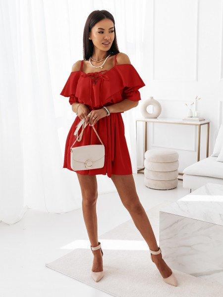 Sukienka na ramiączkach z falbanką MARITTA - czerwona