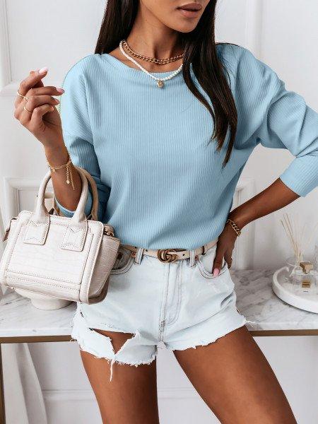 Prążkowana bluzka z dekoltem na plecach KLARYSA  - błękitna