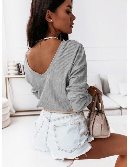 Prążkowana bluzka z dekoltem na plecach KLARYSA  - szary melanż