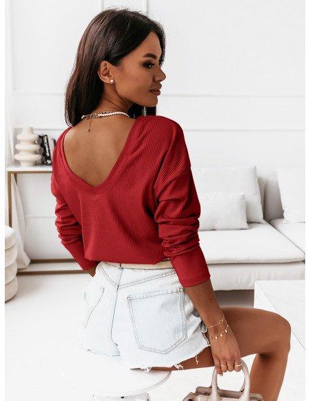 Prążkowana bluzka z dekoltem na plecach KLARYSA  - czerwona