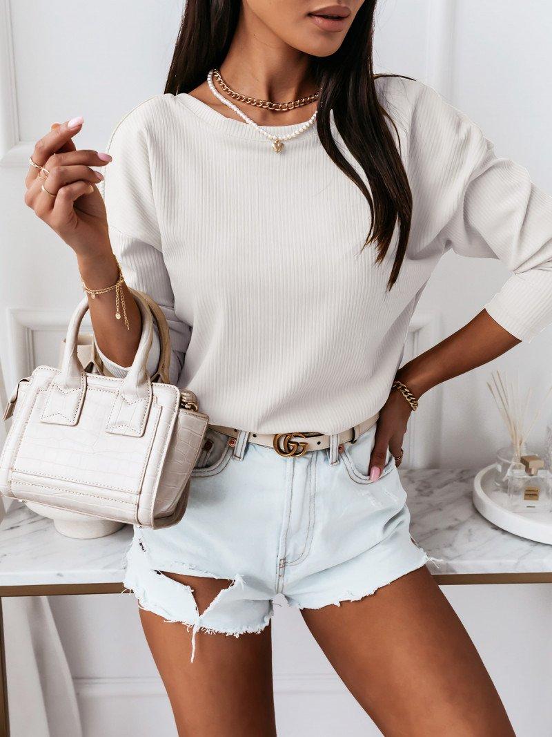 Prążkowana bluzka z dekoltem na plecach KLARYSA  - biała
