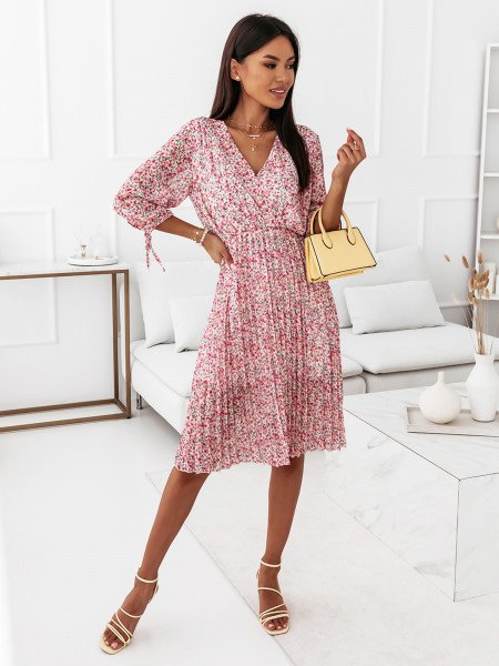 Sukienka z plisowanym dołem - LOLA - wzór 1