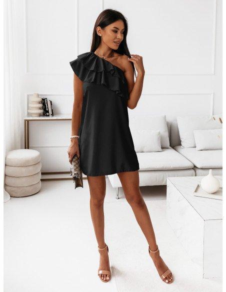 Mini sukienka na jedno ramię LIVIA - czarna