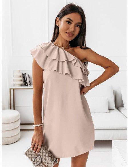 Mini sukienka na jedno ramię LIVIA - beżowa