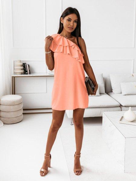 Mini sukienka na jedno ramię LIVIA - brzoskwiniowa