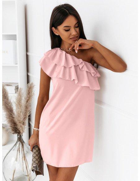 Mini sukienka na jedno ramię LIVIA - pudrowy róż