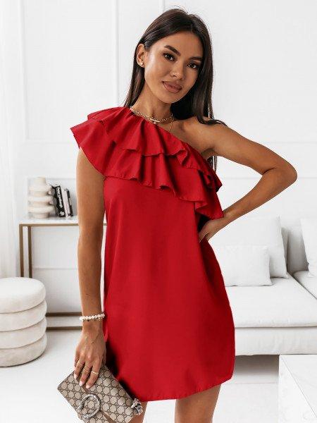 Mini sukienka na jedno ramię LIVIA - czerwona