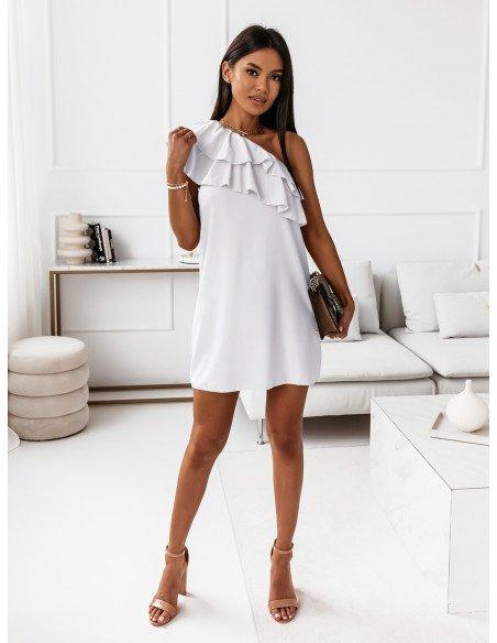 Mini sukienka na jedno ramię LIVIA - biała