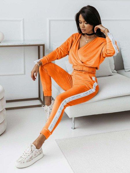 Welurowy dres spodnie + bluza VELVET - neonowy orange