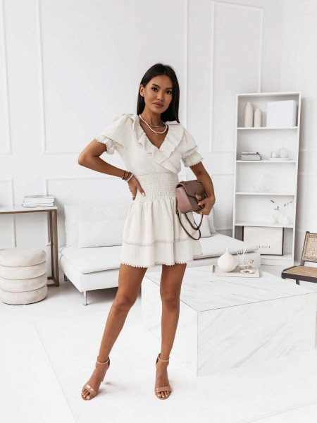 Boho sukienka z falbanami AVENTURA - biała
