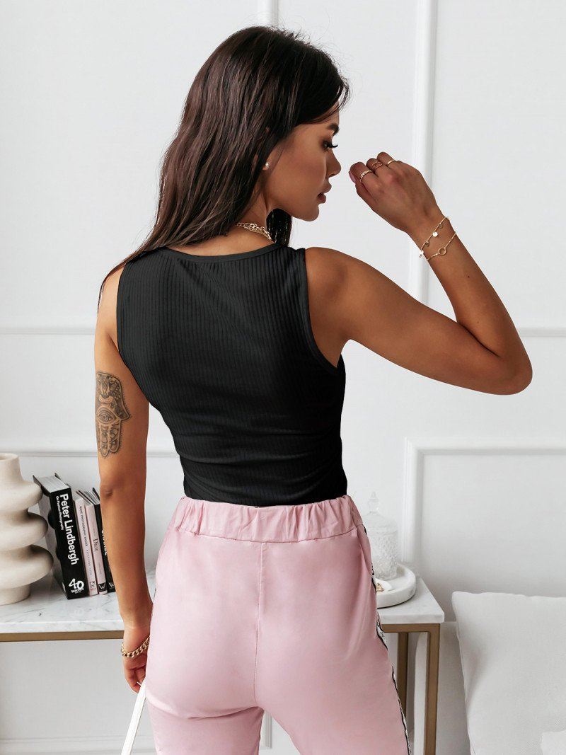 Top bluzka w prążki MAGRA - czarna